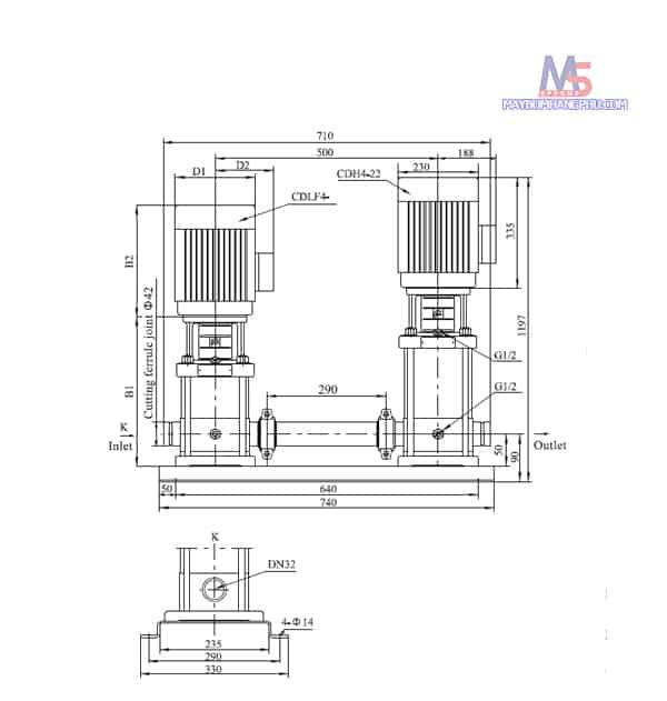 MÁY BƠM LY TÂM TRỤC ĐỨNG NHIỀU TẦNG CÁNH CNP CDLF4-12 3HP/380V 6